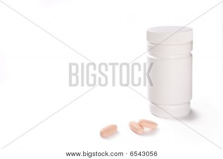 Vitamin Pills And Container Isolated