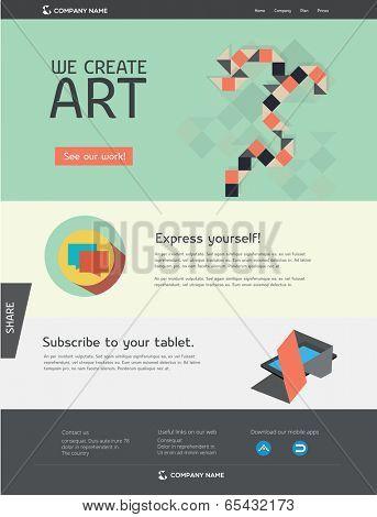 Editable web template - flat design