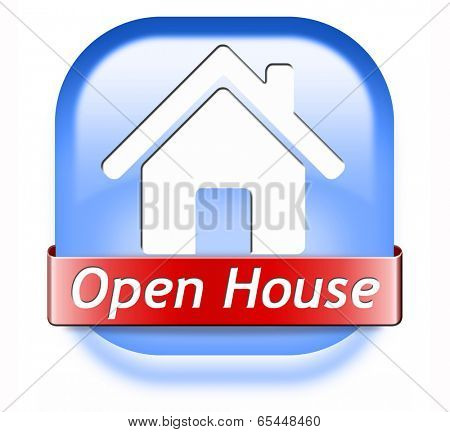 Open house sign banner or placard for renting or buying a new home visit a real estate property model house