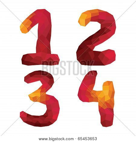 Multicolor Polygons Isolated Numbers 1,2,3,4