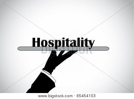 Profesional Hand Silhouette Presenting Hospitality Text - Concept Illustration.