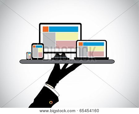 Hand Presenting Desktop Computer Laptop Tablet & Smart Phone. Website Template On Pc Computer Laptop