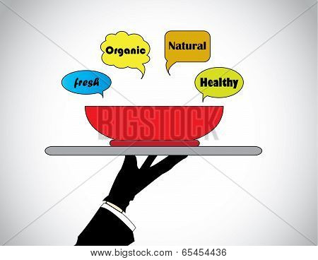 A Professional Hand Silhouette Presenting Fresh Natural Organic Healthy Food