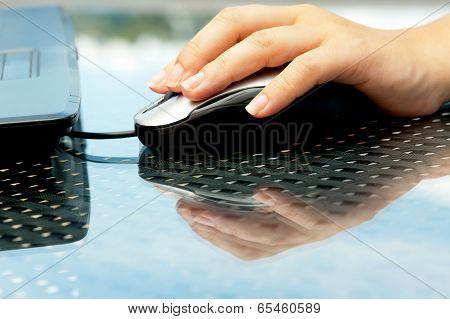 Woman Hand Holding Mouse