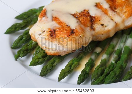 Fried Chicken With Sauce Hollandaise And Asparagus. Macro