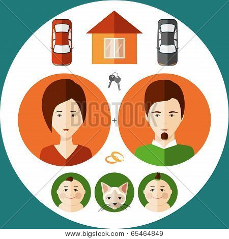 Young Family In A Flat Style Of Thinking About His House, Children , Cars