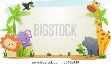 Banner Illustration Featuring Cute Safari Animals