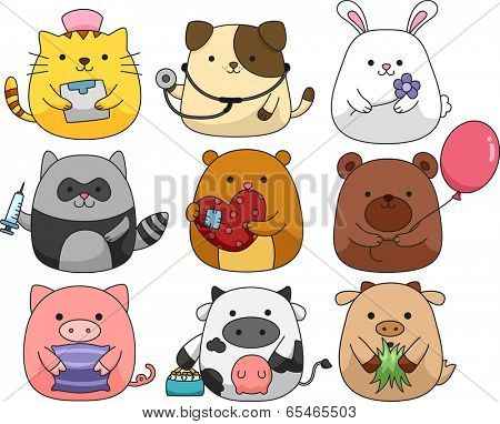 Illustration of a Set of Cute and Cuddly Animals