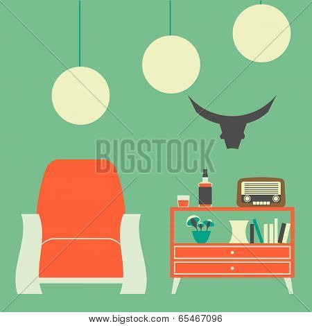 Vintage Interior of 50s-60s in Flat Style Vector Illustration