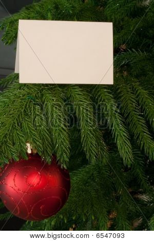 Branch With Card And Ornament