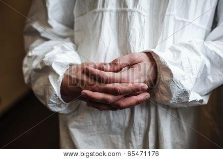 Scientist's Hands By Window
