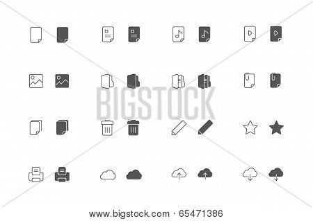 Outline and filled File icon set