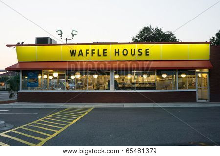JACKSONVILLE, FL - MAY 23, 2014: A Waffle House in Jacksonville. Waffle House Inc. is a restaurant chain with over 1700 locations found in 25 states in the United States.