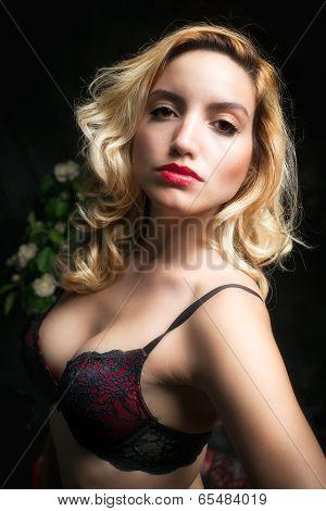Beautiful, Sexy Blonde Woman In Bra