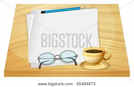 Illustration of a table with empty pieces of papers on a white background
