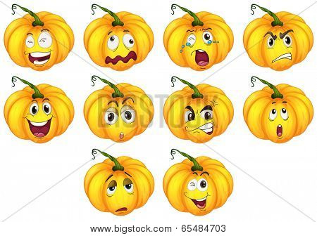 Illustration of the ten pumpkins with different emotions on a white background