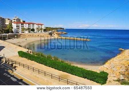 view of Alguer Beach in Ametlla de Mar, Spain