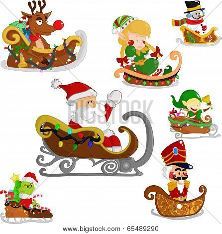 Christmas characters on a sleigh