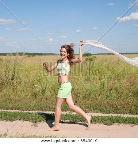 Running Long-haired Teen Girl