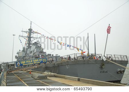USS Cole guided missile destroyer of the United States Navy during Fleet Week 2014