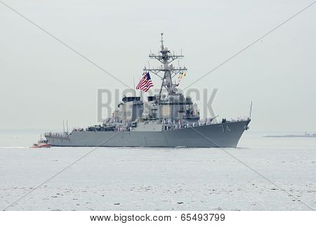 USS McFaul guided missile destroyer of the United States Navy during parade of ships Fleet Week2014