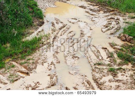 Car ruts in dirty road mud