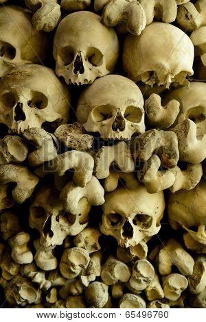 Human skulls and bones in the wall of the Skull Chapel in Czermna, Poland