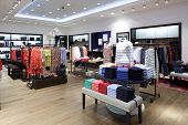 luxury and fashionable brand new interior of cloth store poster