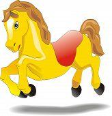 Little cartoon horse galloping, vector sketch poster
