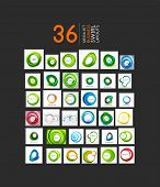 Mega set of abstract smooth swirl shapes. 36 modern business icons and backgrounds poster