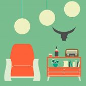 Vintage Interior of 50s-60s in Flat Style poster