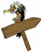 vector illustration: vulture, sitting on a wooden pointer poster