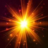 Yellow and orange colors cosmic vector explode poster
