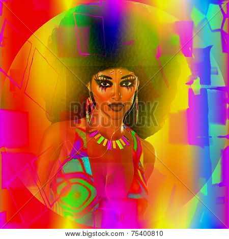 Abstract, retro digital art image of afro disco dancer woman. A colorful abstract effect is added over a woman with an afro hairstyle to create this modern digital art with a retro feel. poster