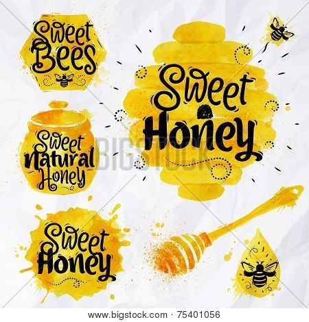 Watercolors symbols honey