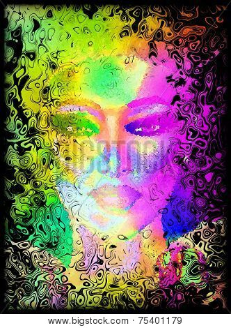 Abstract digital art image of a woman's face