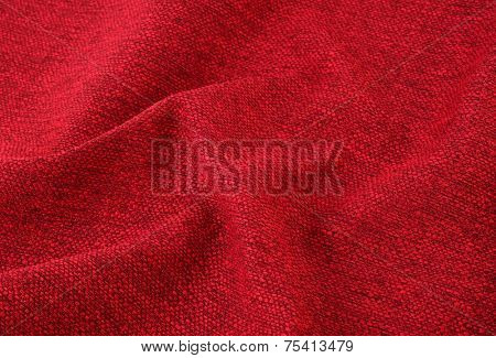 Red wrinkly textile material woven cloth