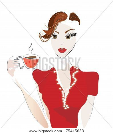 Girl with Coffee Cup or Tea