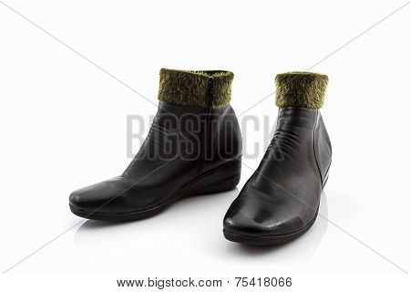 Black Fluffy Woolly Warm Boots, Shoes.
