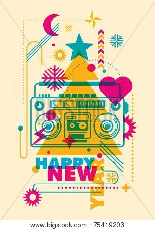 Modish New Year poster in color. Vector illustration.