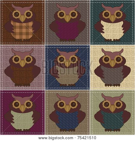 patchwork background with owls and different patterns poster