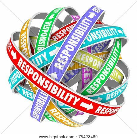 Responsibility word on ribbons in a ball or sphere to illustrate passing or delegating duties, jobs, tasks and assignments to others on your team