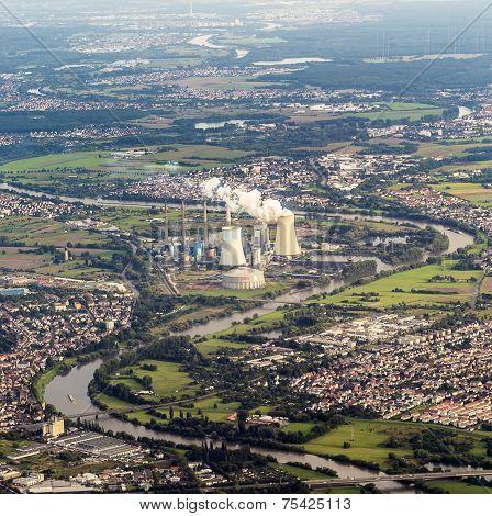 Aerial Of Grosskrotzenburg Power Station, Main River, Germany, Hessen