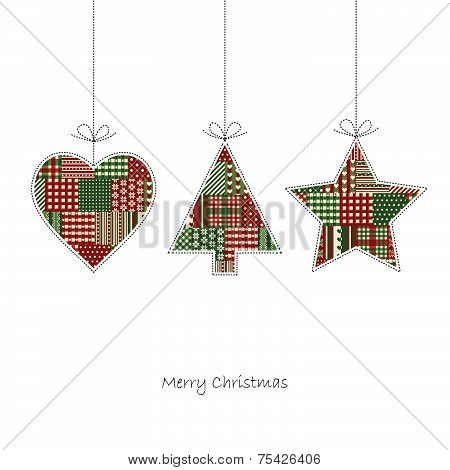 Christmas Card Vector - Three Hangtags On White Background