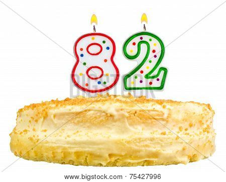 Birthday Cake Candles Number Eighty Two Isolated