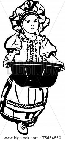 Sketch Of A Girl Is With A Wash Basin