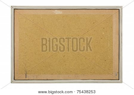 Old White Picture Frame With Fiberboard Background, Isolated On White