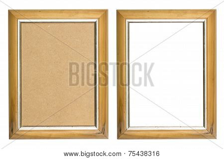 Old Wooden Picture Frame With And Without Fiberboard Background, Isolated