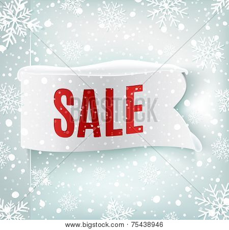 Winter sale background with white realistic ribbon banner and snow