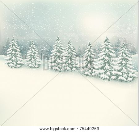 Retro Christmas winter landscape background. Vector.